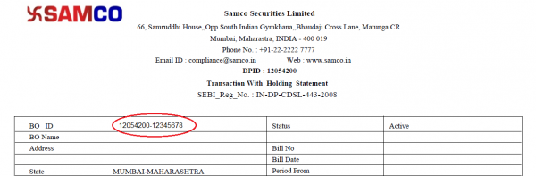 Demat Transaction cum Holding Statement