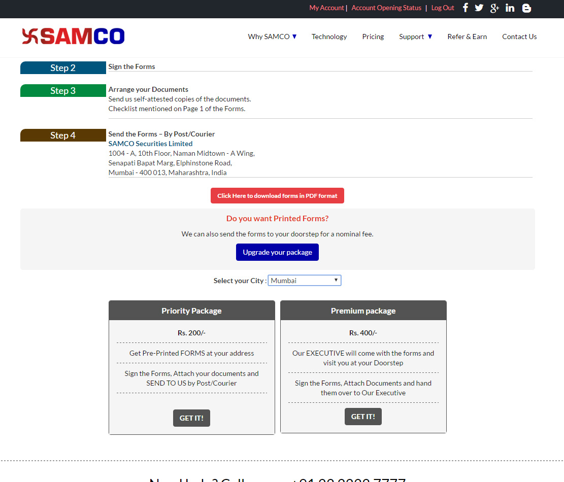 SAMCO Securities Pick up packages