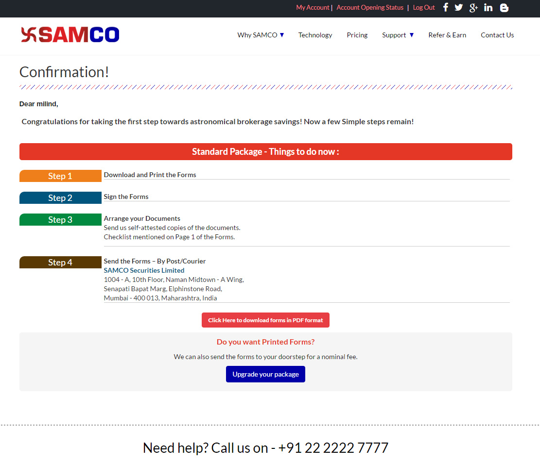 SAMCO Securities Account opening form