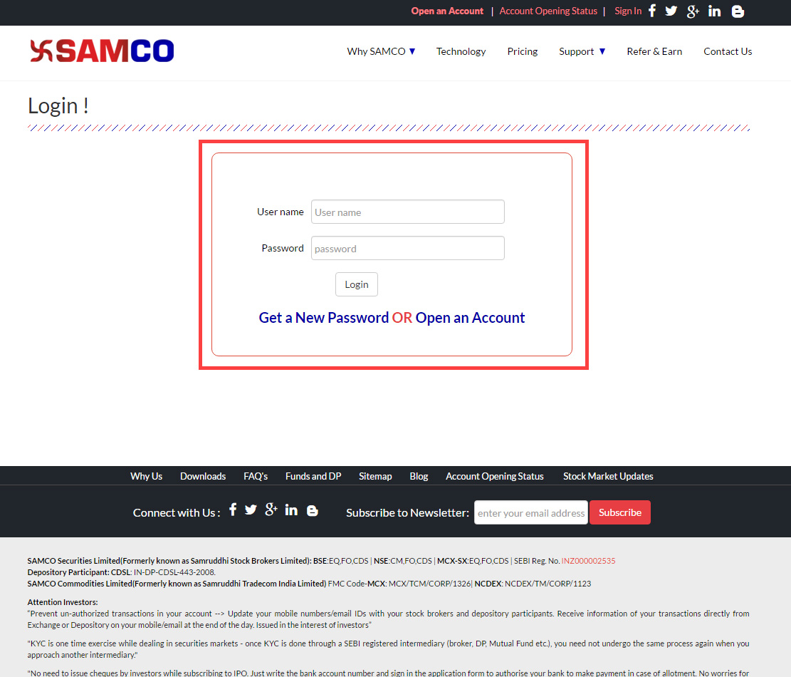 SAMCO Securities Login page