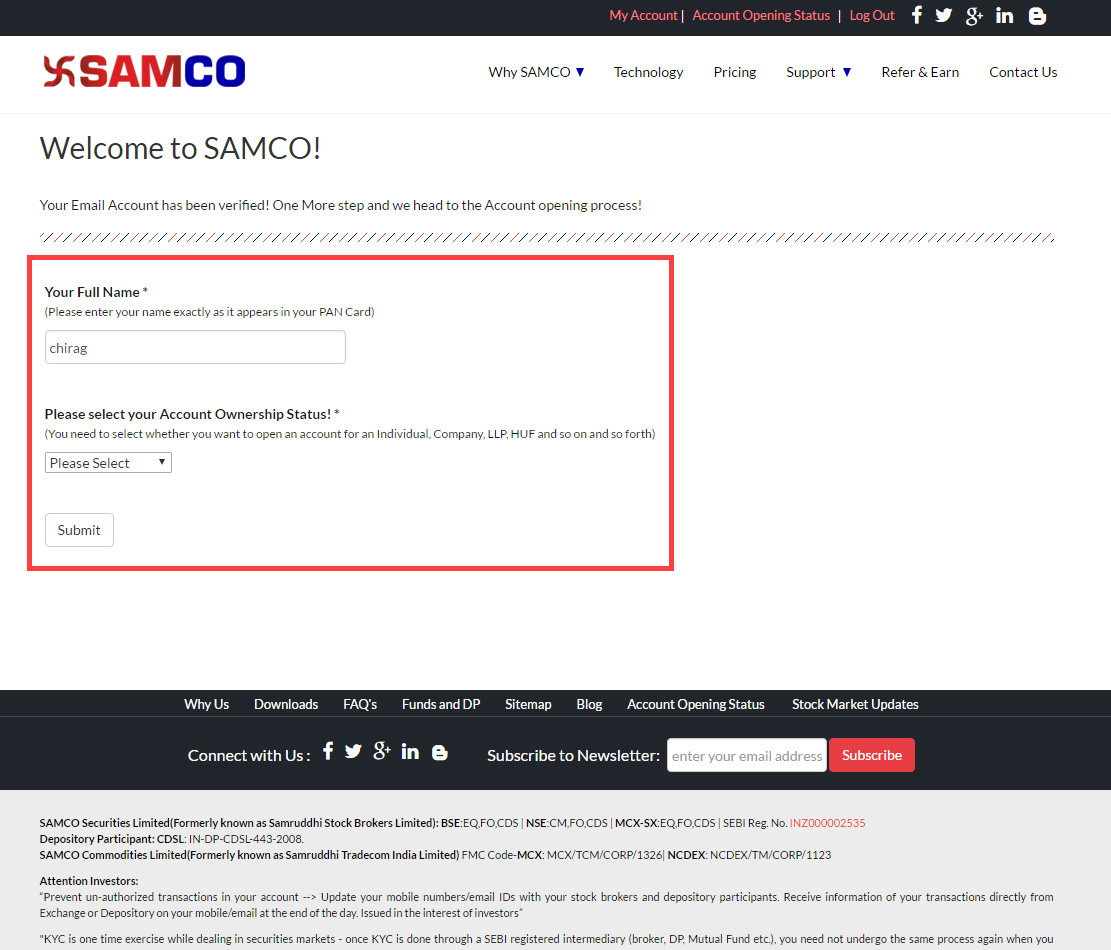 SAMCO Securities - Welcome page