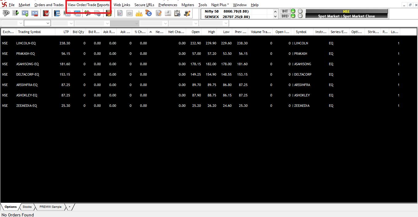 Accessing Pending Order / Open Orders Window Via the View Trade/Order Menu