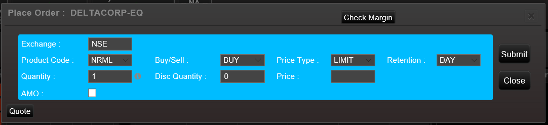 SAMCO Web Xpress Buy Order Entry Dialog Box