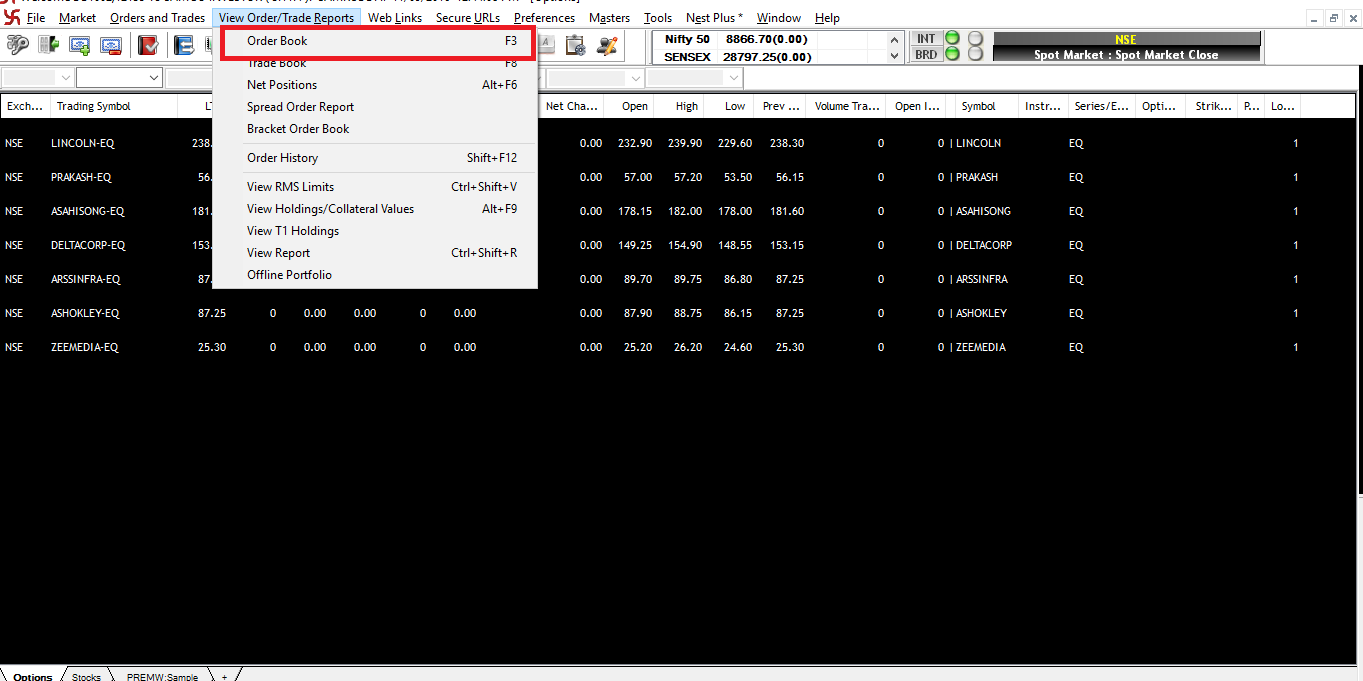 Accessing Pending Order / Open Orders Window Via the View Trade/Order Menu - SAMCO NEST Trader - Short Cut Key F3