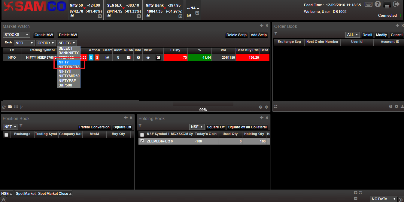 SAMCO Web Xpress - Adding Options