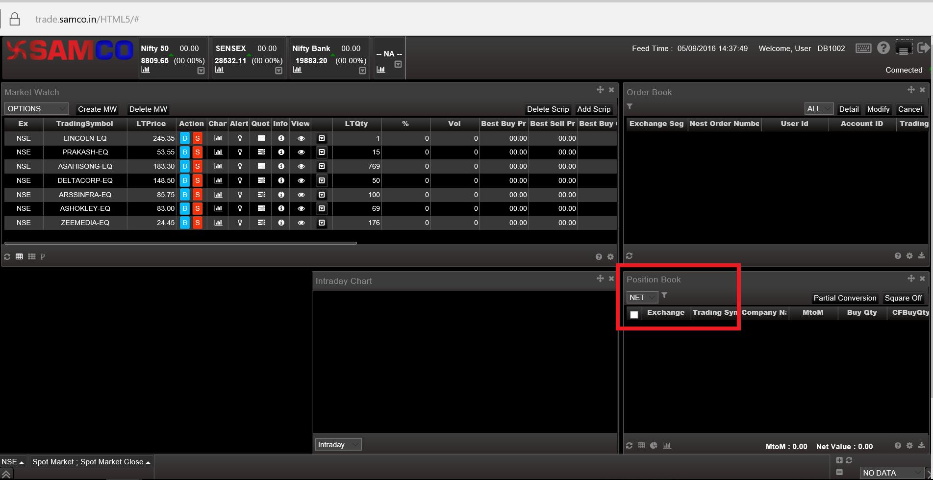 SAMCO Web Xpress - Adding Position Book Window to Dashboard