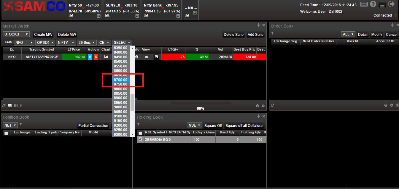SAMCO Web Xpress - Adding Options and Selecting Strike Price