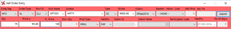 Example of a Stop Loss Limit order with Trigger price and Limit Price