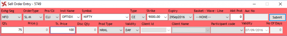 Stop Loss Order Example Sell Order