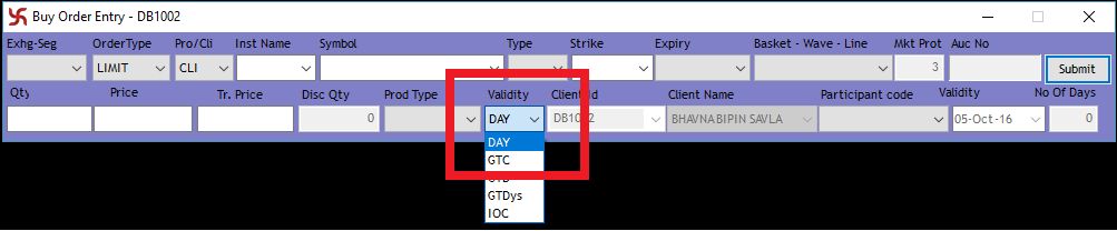 End of Day - (DAY) Validity Order in SAMCO NEST Trader