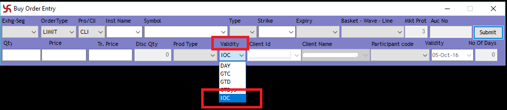 Order Validity - IOC - Immediate or Cancel Order Validity - SAMCO NEST Trader