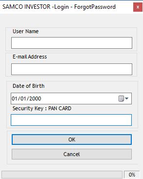 Forgot Password - User Credentials - SAMCO NEST Trader