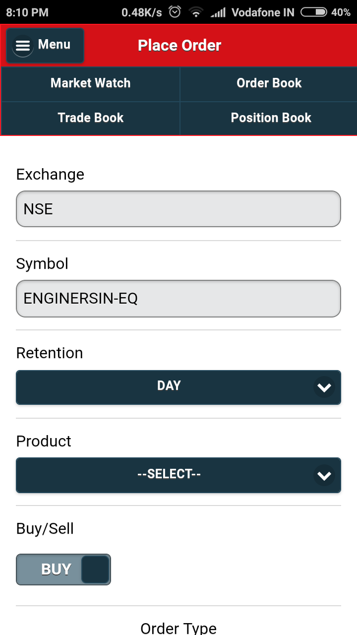 samco mobile trader buy order