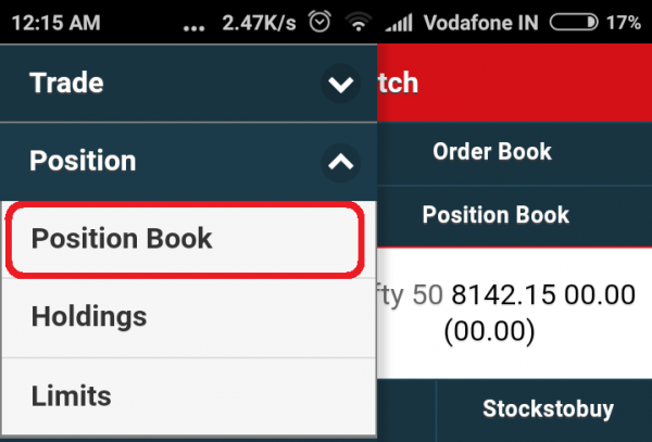 Select Position Book from the SAMCO Mobile Trade Menu Options
