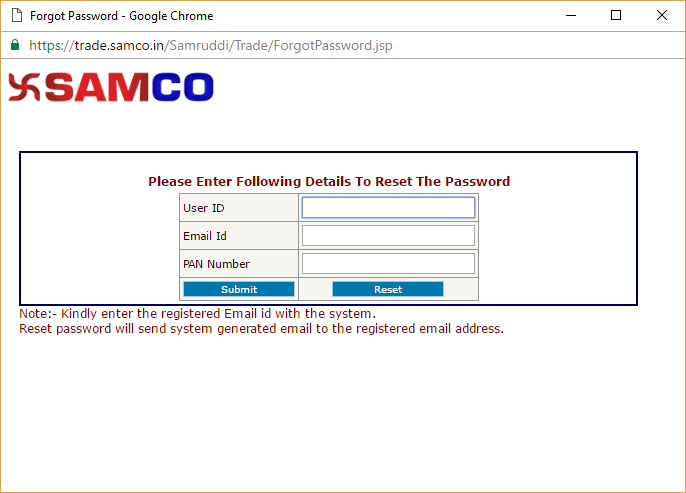 Unblock trading account from SAMCO Web Xpress