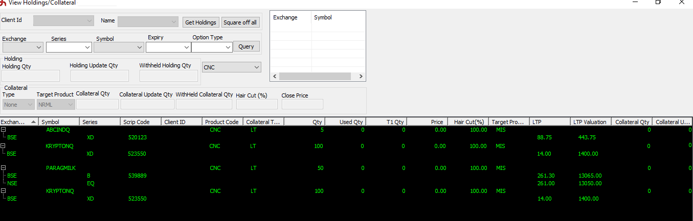 Collateral quantity in SAMCO NEST Trader