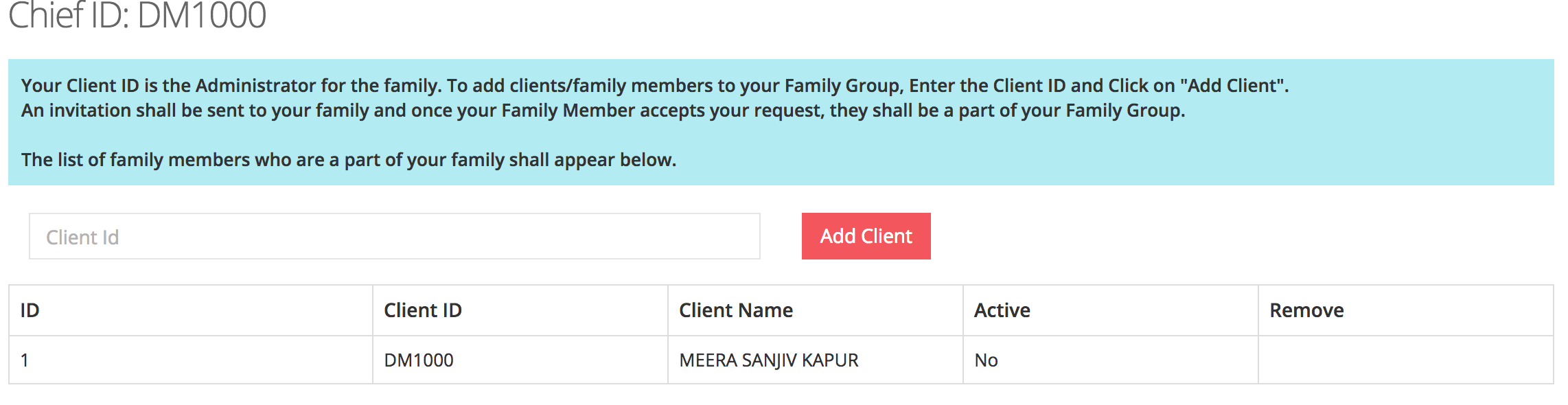 Add Client in Family Admin