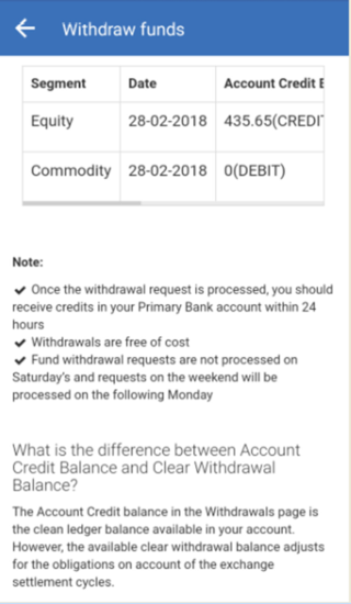 withdraw funds message