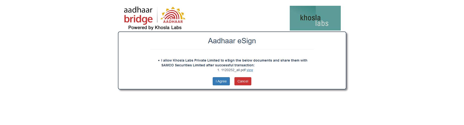 samco-account-aadhar confirmation