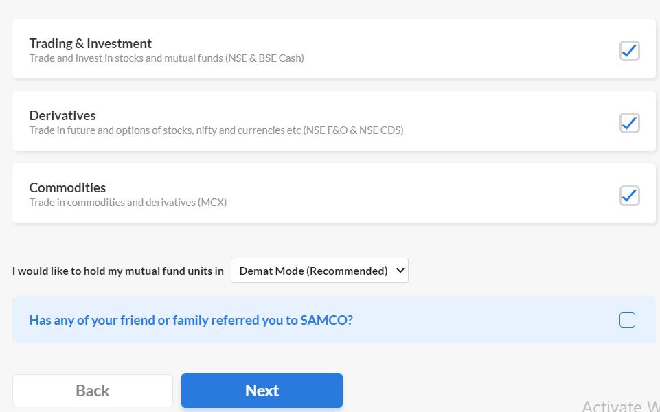 samco-account-choose-trading-segments